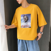 2018 Newest Men S Fashion Trend Round Collar Printing Clothes Short Sleeves Loose Casual Cotton Yellow