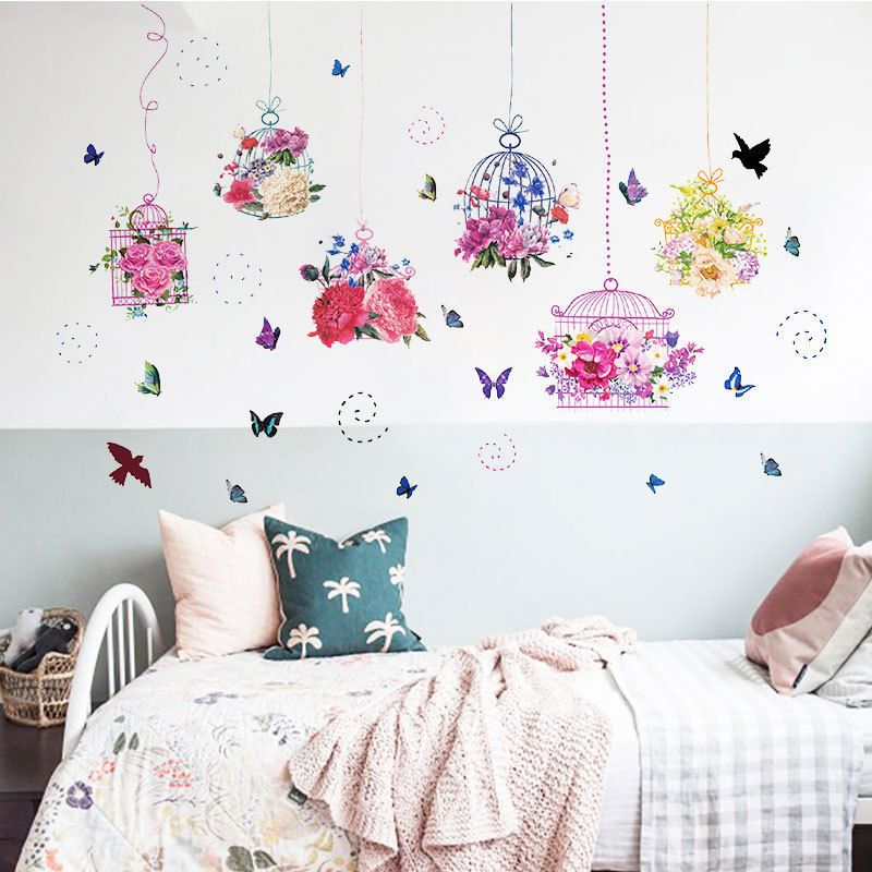 Pastoral Style Butterfly Flower Bird Cage Wall Sticker Living Room Bedroom Decorations Wallpaper Mural Removable Stickers