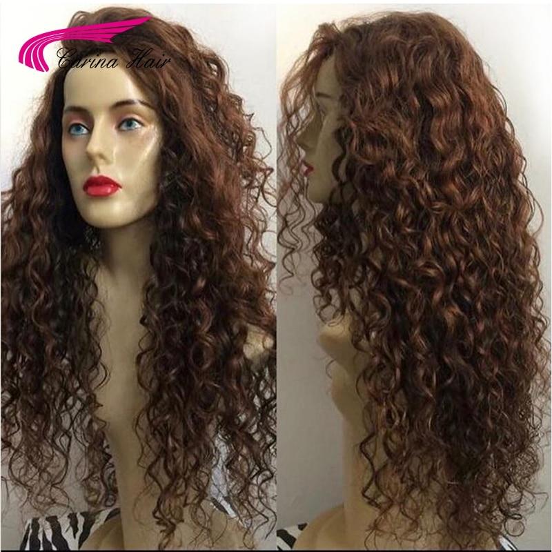 Carina Remy Brésilienne Brun Naturel Longue Crépus Bouclés Avant de Lacet Perruque De Cheveux Noir Profond Bouclés Demi Perruques de Cheveux Humains Pour noir Femmes
