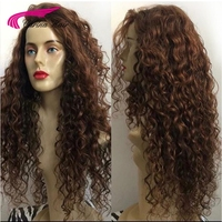 Carina Remy Brazilian Brown Natural Long Kinky Curly Lace Front Hair Wig Black Deep Curly Half Human Hair Wigs For Black Women