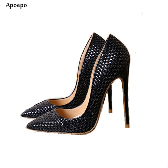Apoepo newest pointed toe high heel Shoes Black leather woman pumps sexy slip-on wedding heels shallow mouth stiletto heels newest flock blade heels shoes 2018 pointed toe slip on women platform pumps sexy metal heels wedding party dress shoes
