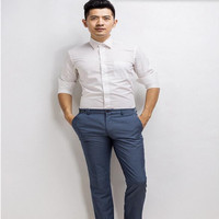 Simple Comfortable Men Shirt The New Style Groom Shirt Tailor Made Solid Color Formal Business Occasions