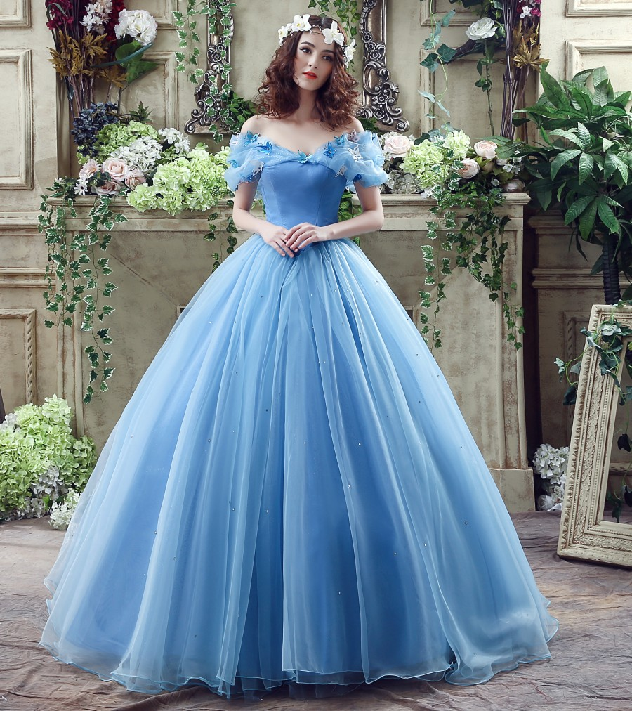 Plus Size Wedding Dresses Cinderella Ball Gown: New Movie Deluxe Adult Cinderella Prom Evening Dresses