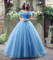New Movie Deluxe Adult Cinderella Prom Evening Dresses Blue Cinderella Ball Gown Party Gown Dress 2016 Real Image