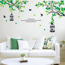 Removable DIY Home Decor Vinyl Birdcage Birds Tree Wall Stickers For Kids Rooms Decals Mural Art Bedroom Decor Room Decoration