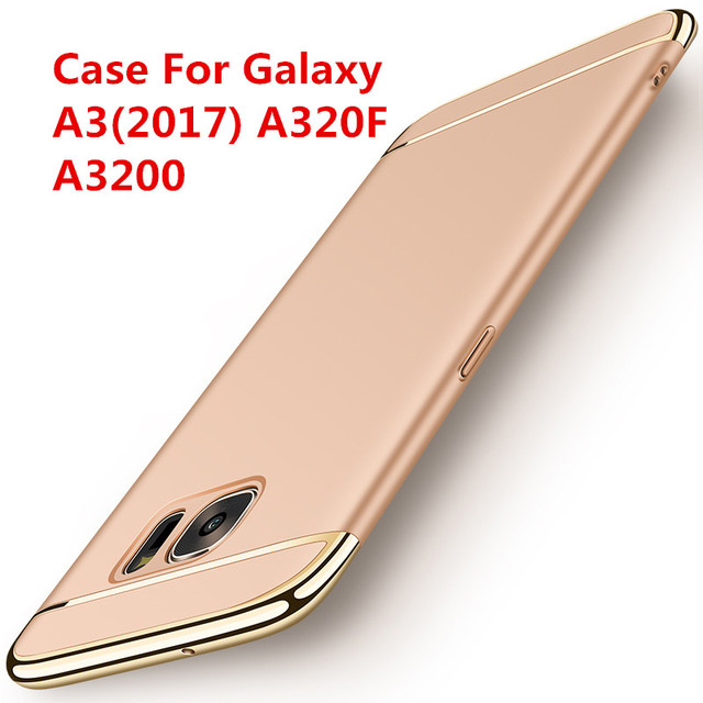 Case For Samsung Galaxy A3 2017 A320 Luxury Gold Plating Armor Cellphone Shell Back Cover Case For Galaxy A32017 A320f A3200 In Fitted Cases From