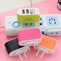 EU Plug 3.1A USB Charging Kit 3 Ports Portable Travel Home Wall Keyboard Phone Charger LED Adapter For iPhone Samsung 5 Colors