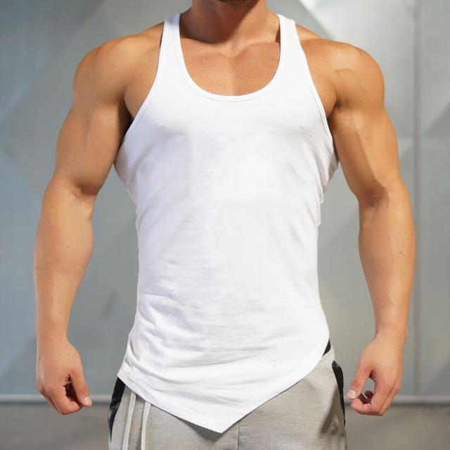 Brand Solid Color Clothing Gyms tank top men Fitness Sleeveless Shirt Cotton blank Muscle vest Bodybuilding Stringer Tanktop 2