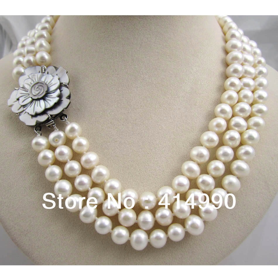 Free Shipping Multilayer Triangle Necklace Freshwater Pearl Necklace Shell Flower Lock Pearl Necklace 8-9mm Nearround цена 2017