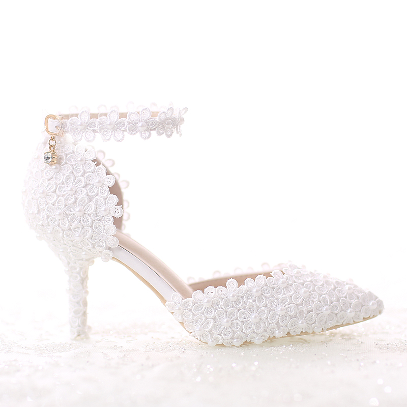 ФОТО White Pearl Lace bridal Shoes pointed Toe Thin Heels Wedding Shoes 7cm belt Female Adult sandals Free Shipping