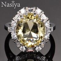 Nasiya создан драгоценный камень цитрин кольца для Для женщин реальные 925 пробы Серебряные ювелирные изделия кольцо обручальное Юбилей, плать...