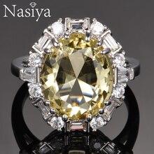 Nasiya anillos de piedras preciosas de citrino para mujer, joyería de plata de ley 925 auténtica, anillo de aniversario de boda
