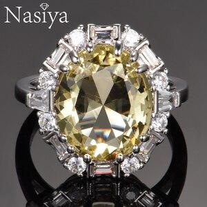 Image 1 - Nasiya utworzono cytrynowe pierścienie z kamieniami szlachetnymi dla kobiet prawdziwe 925 srebro biżuteria pierścionek rocznica ślubu Paty prezent hurtownia