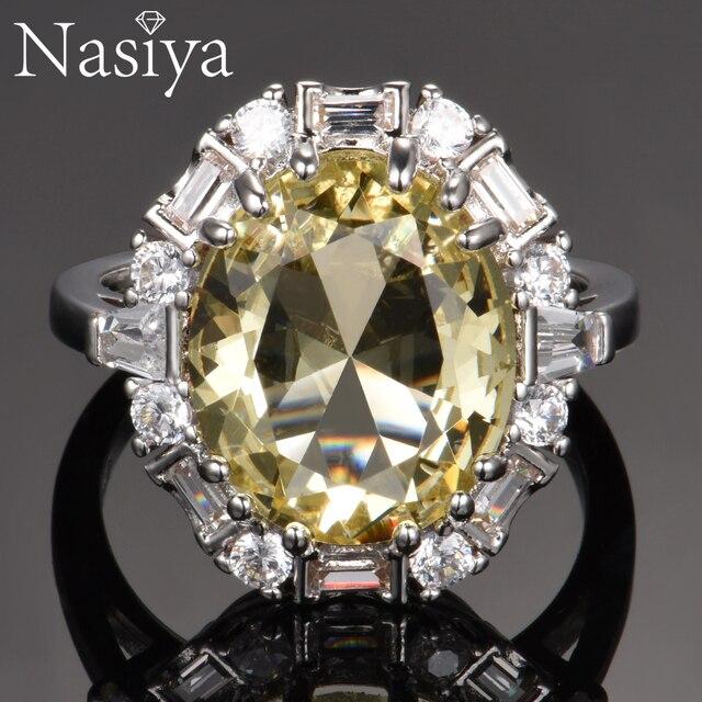 Nasiya utworzono cytrynowe pierścienie z kamieniami szlachetnymi dla kobiet prawdziwe 925 srebro biżuteria pierścionek rocznica ślubu Paty prezent hurtownia
