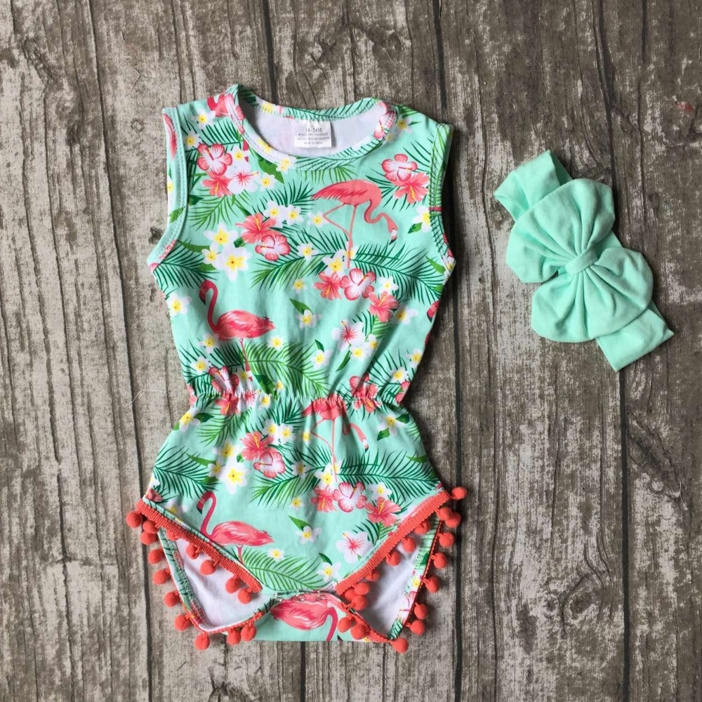baby girls Summer clothes infant  toddler girls flamingo romper newborn cotton romper with match headband pudcoco newborn infant baby girls clothes short sleeve floral romper headband summer cute cotton one piece clothes