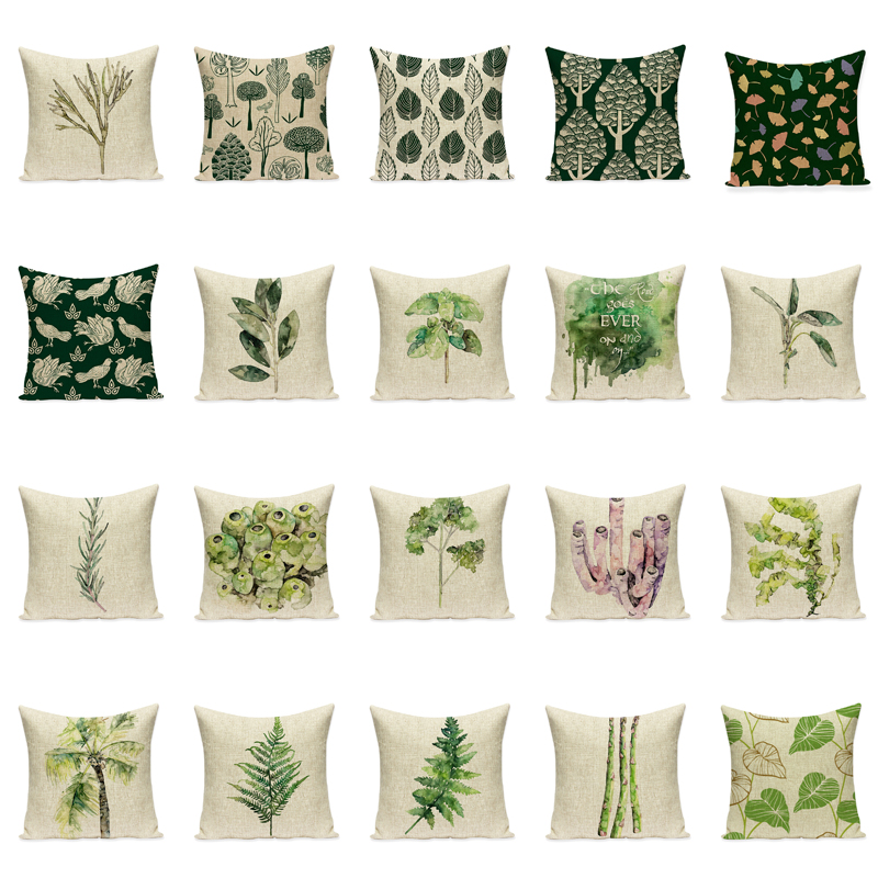 Plant Cover Sets Tropical Tree Green Pillow Sets Nordic Decorative Pillow Sofa Car Seat Cushion Cove Cojines Decorativos