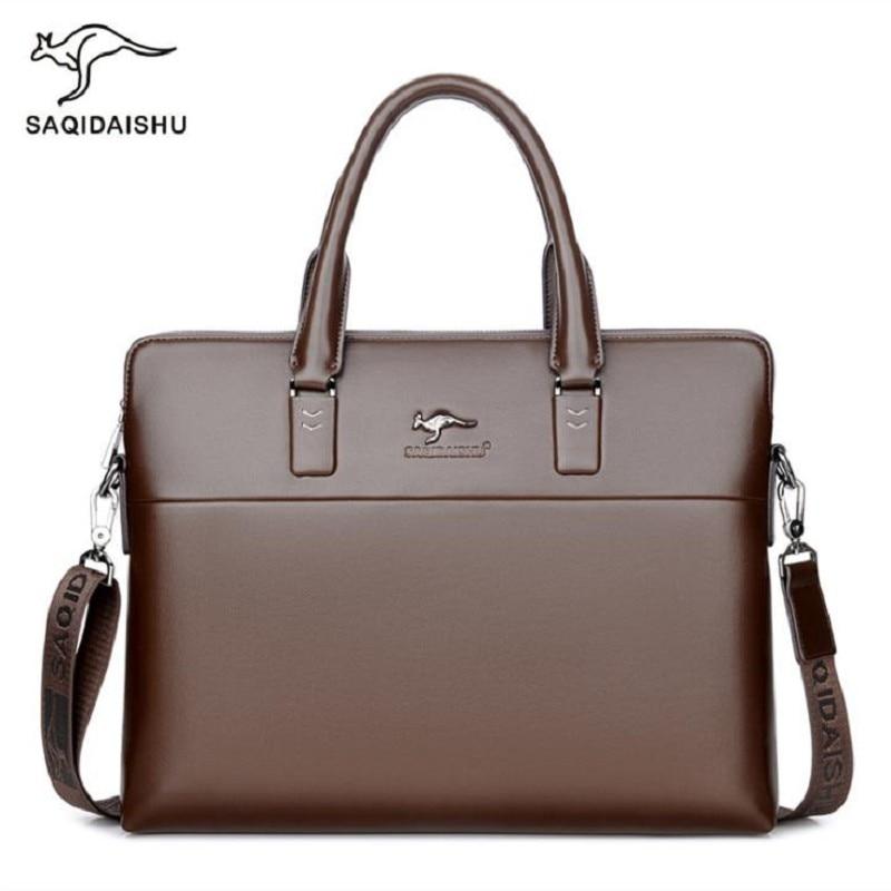 Men Briefcases Big Business Bag A4 Notebook Split Leather Formal Work Bags Male Crossbody Messenger Handbags