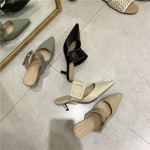 Women Mule Slippers Spring Summer Pointed Toe Buckle Design Mid Heel Shoes Half Slippers Shoes Footwear Women Slippers 2019 stylish women s slippers with pointed toe and solid colour design