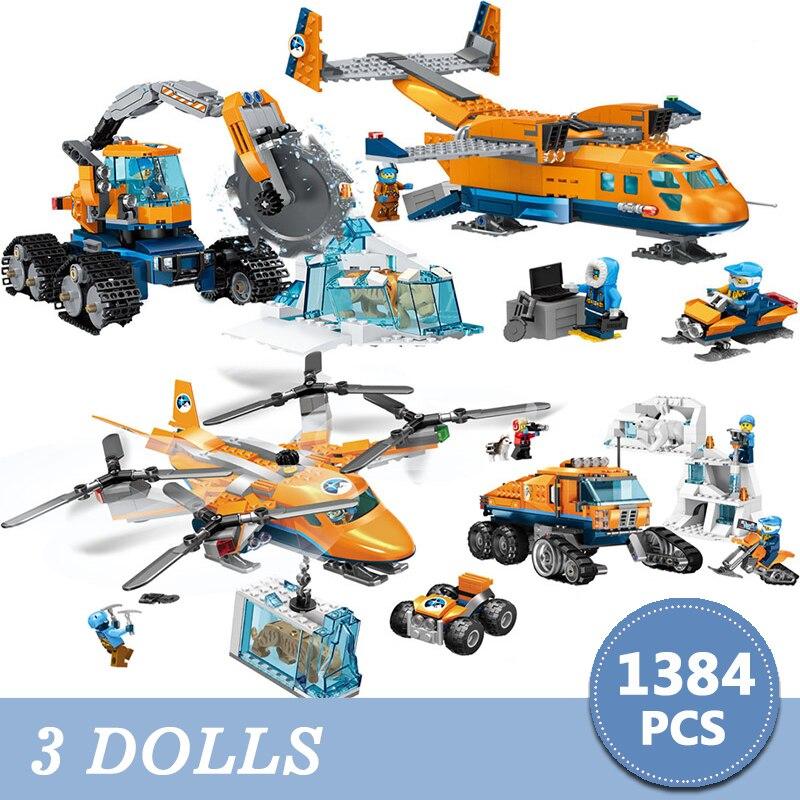 Городской строительный конструктор 1384 шт Arctic Scout грузовик воздушный транспорт поставка модель Technic кирпичи Фигурки игрушки для детей Рожде