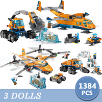 City Building Blocks 1384pcs Arctic Scout Truck Air Transport Supply Model Technic Bricks Figures Toys for Children christmas