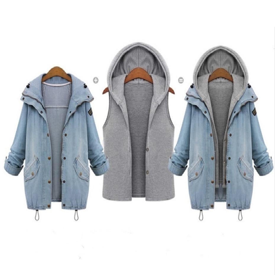 Capuche Veste Taille La Pièce Plus Bleu Longues 2 À Coton Costume Hiver Denim Femmes Manches Manteau Nouvelle Sweat Outwear Casual v77q5xwdZ