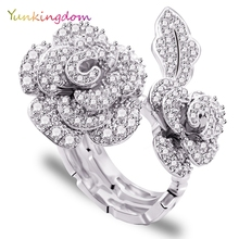 Unique Design Two Kinds Wear Wedding Rings zircons Fashion Platinum Plated Ring Perfect Luxury Flowers Fine Jewelry Women's