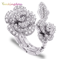 Unique Design Two Kinds Wear Wedding Rings CZ Diamond Fashion Platinum Plated Ring Perfect Luxury Flowers