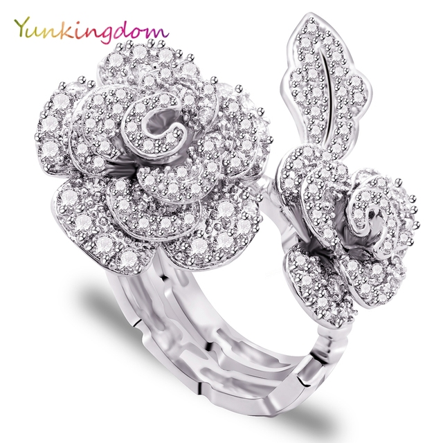Yunkingdom rose flower design big rings for women clear zircon fashion jewelry rings female gifts