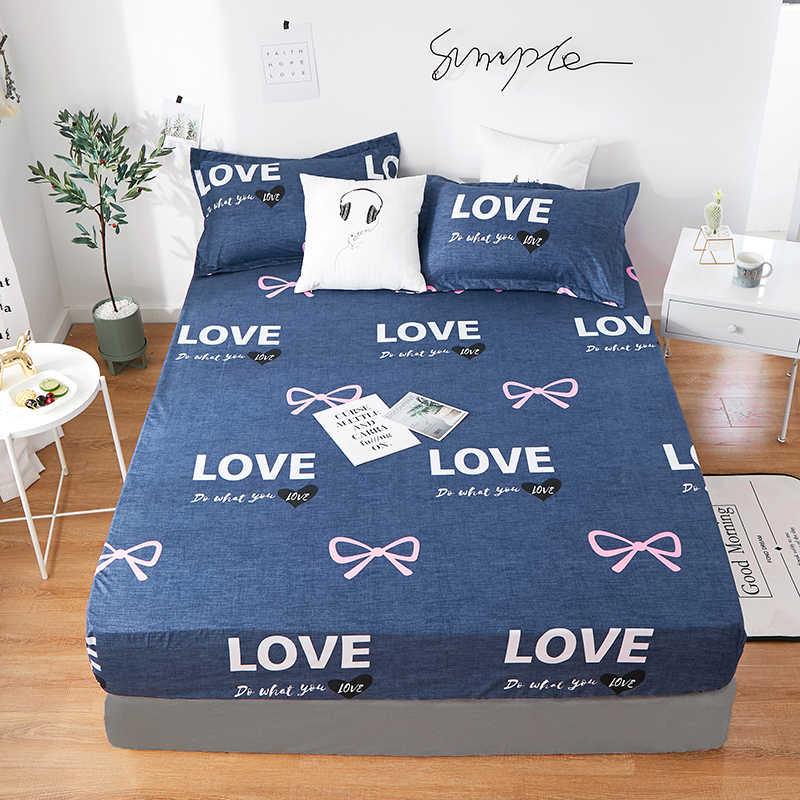 2019  New Product 1pcs 100%Polyester Printed Solid Fitted Sheet Mattress Cover Four Corners With Elastic Band Bed Sheet