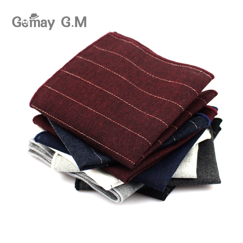 High Quality Striped Pocket Square For Men Suits Cotton Hankerchief Business Hanky Casual Solid Mens Handkerchiefs Scarves