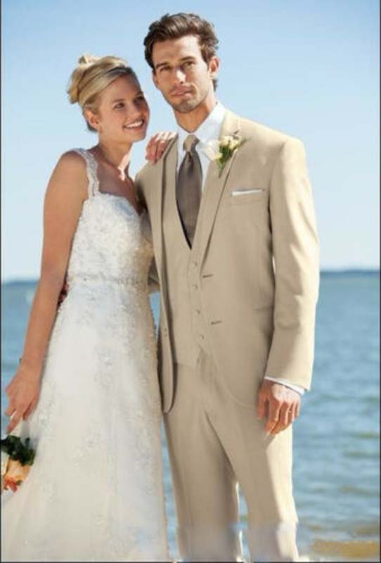 Newest Custom Made Two Button Groom Tuxedos Beige Best Man Notch Lapel Groomsman in Suits from Men 39 s Clothing