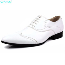 QYFCIOUFU New Luxury Mens Designer Dress Shoes Genuine Leather Pointed Toe Brogue Black White Brown Business Oxford Shoe