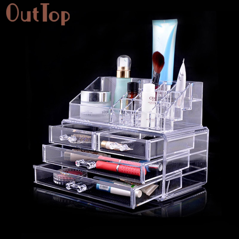 ФОТО OutTop Makeup Cosmetics Jewelry Organizer Clear 3 Drawers Lipstick Box Storage g6715