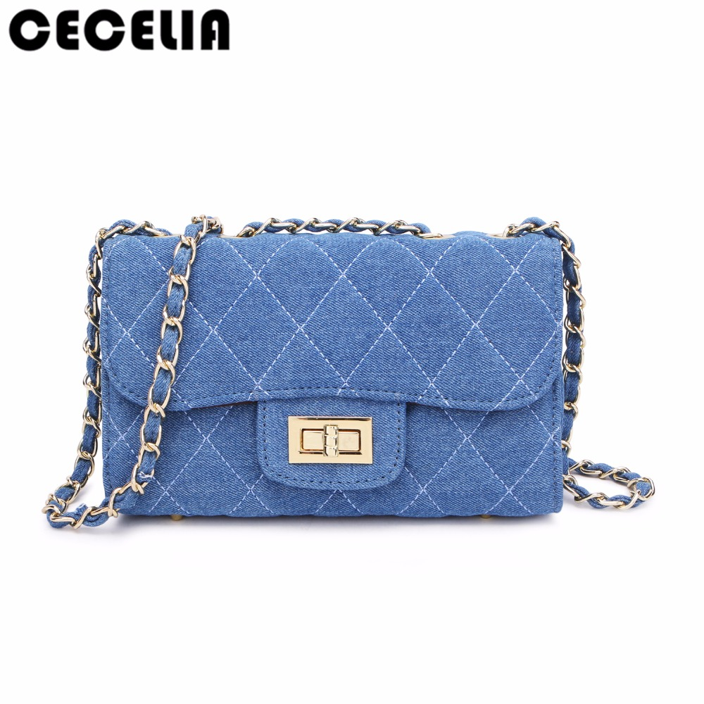 цены Casual Denim Women Cross Body Bag Leather Retro Jeans Female Patchwork Chain Bag Designed Messenger Bag Cowboy Flap for Ladies