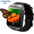 Q18 wearable dispositivos bluetooth smart watch apoyo sim gsm cámara con pantalla táctil para android/ios teléfono móvil apro dz09 gt08