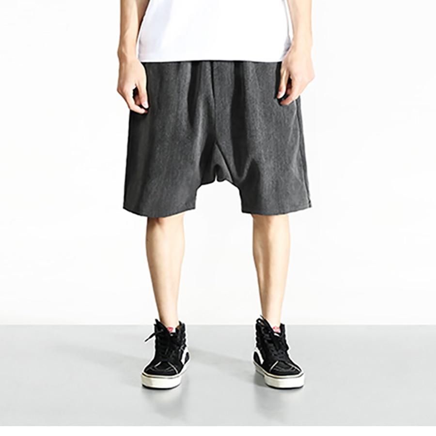 Summer Male Harem Shorts Men Hip Hop Gasp Mens Baggy Short Skateboard Bermuda Academia Pockets Elastic Waist Shorts Men S6T012