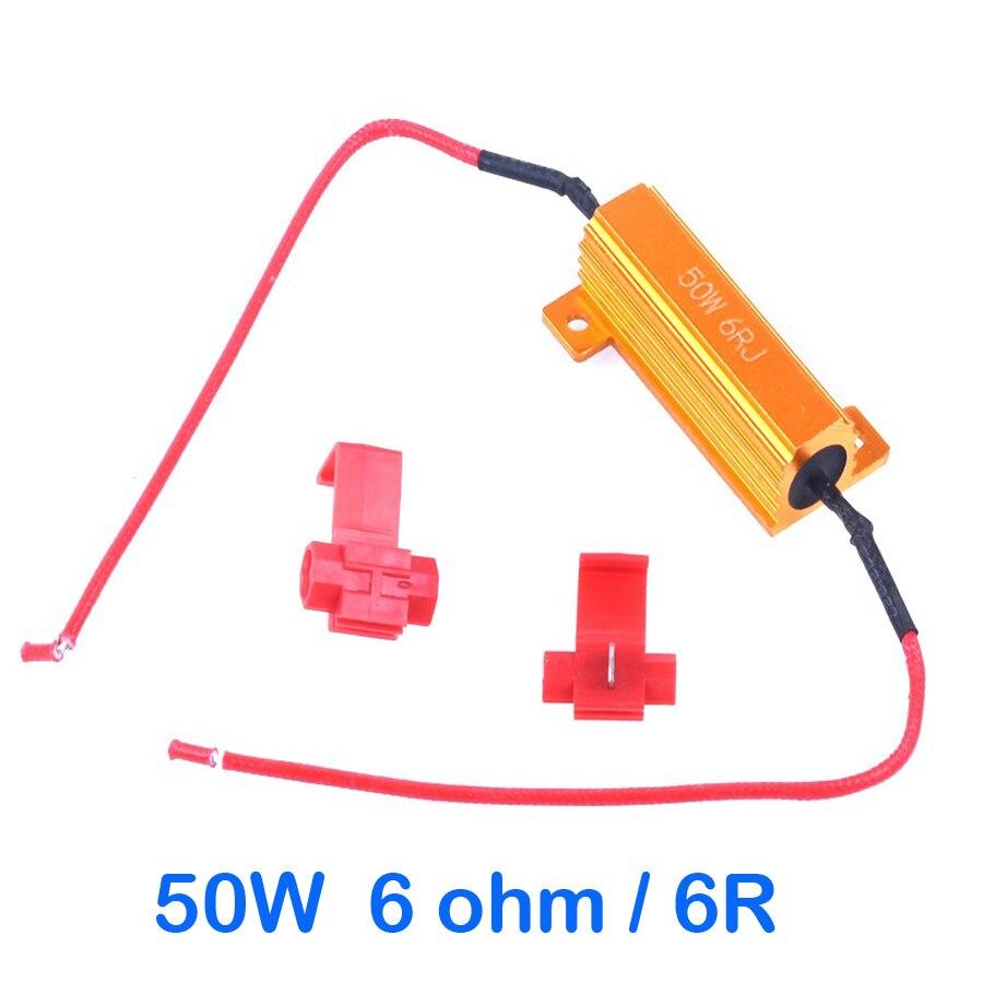50W Load Resistor 6 ohm Fix LED Bulb Fast Hyper Flash Turn Signal Light  Blinker 1157 1156 3157 3156 12V Car 6R Resistors + T Tap-in Car Light  Accessories ...