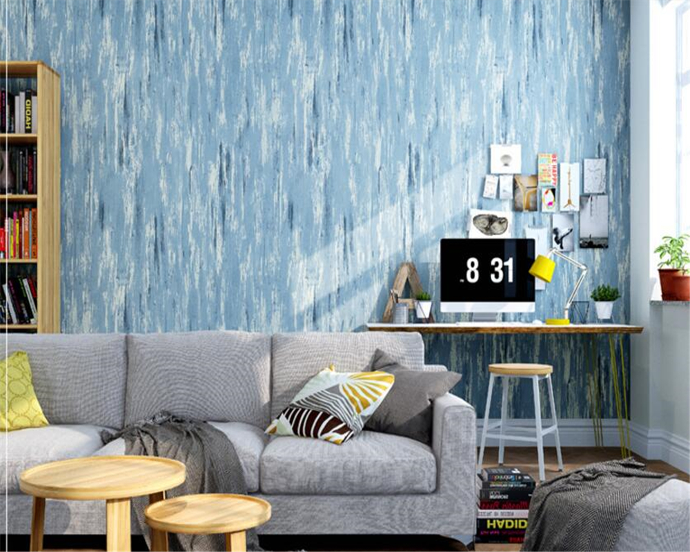 beibehang American country solid color vintage wallpaper Blue Mediterranean nonwoven living room bedroom background wall paper