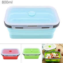 800ML Silicone Lunch Box Rectangle Folding Food Container Portable Bowl Three Colors box  Eco-Friendly