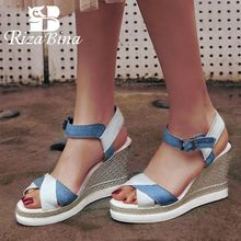 RizaBina Fashion Women High Wedges Sandals Ankle Strap Denim Mixed Color Wedges Sandal Summer Vacation Women Shoes Size 34-39 все цены