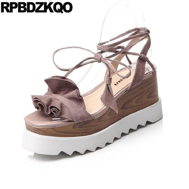 cb2352541eb Cute Tie Up Lace Ladies Strap Sandals High Heels Women Flatform 2018 Cork  Pumps Platform Wedge Pink Shoes Suede Kawaii Ruffles