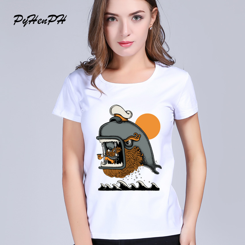 PyHenPH Brand Top 2017 Fashion t shirt for wome Cute Whale Design T-shirt Women Casual Tshirt Homme Cool Woman T Shirt PH0113