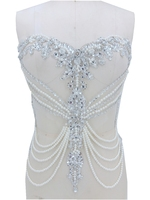 handmade sew on silver rhinestones applique on mesh peal crystals trim patches 45*38cm for wedding dress accessories