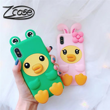 Cute carton 3D stereo duck mobile phone case for iPhone X XR XS Max 7 8 Plus soft silicone case for iPhone 8 7 6 6S Plus new картонный чехол для iphone 4 carton case