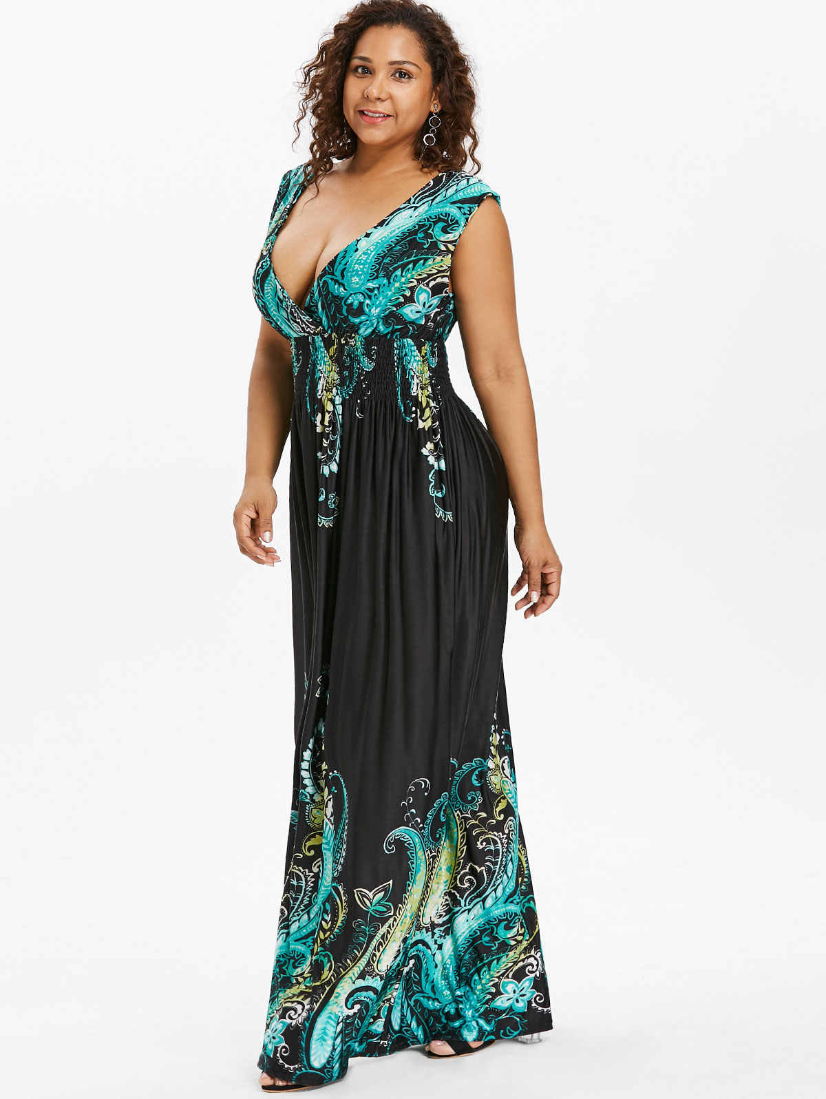 Paisley Casual Plus Size Maxi Dresses