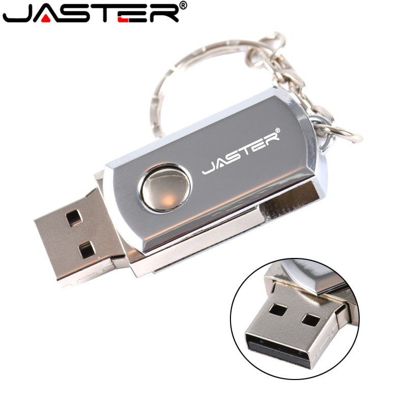 JASTER USB 2.0 USB Flash Drive 4G 8GB 16GB 32GB 64GB Pen Drive Portable External Hard Drive Metal USB Memory Stick With Keyring
