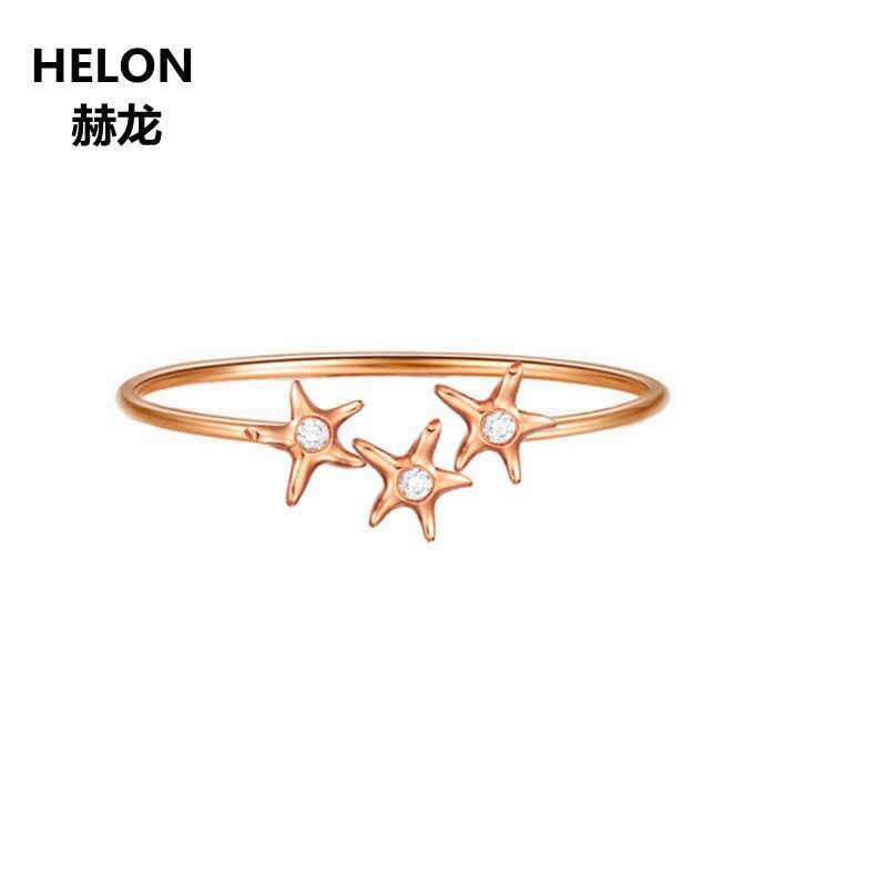Diamante Natural anillo de compromiso sólido 14 k oro rosa mujeres anillo de boda aniversario Banda San Valentín chica mujer joyería regalo