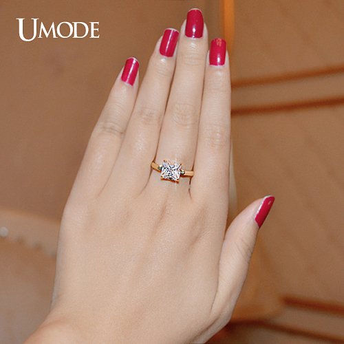 Umode Yellow Gold Color 2 25ct Princess Cut Square Cubic Zirconia Engagement Rings For Women Wedding Rings Gifts Ur0134a Engagement Rings For Women Engagement Ringrings For Women Wedding Aliexpress