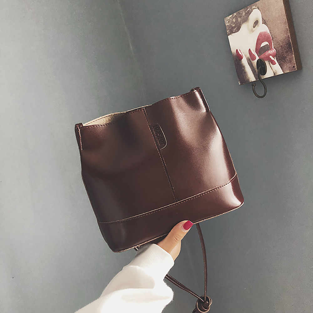 Detail Feedback Questions about Women s Bucket Bags PU Leather Large  capacity Messenger Handbag Single Shoulder Wild Shell Atmosphere Clutch Bag  Chain 10Oct ... 742a607042233