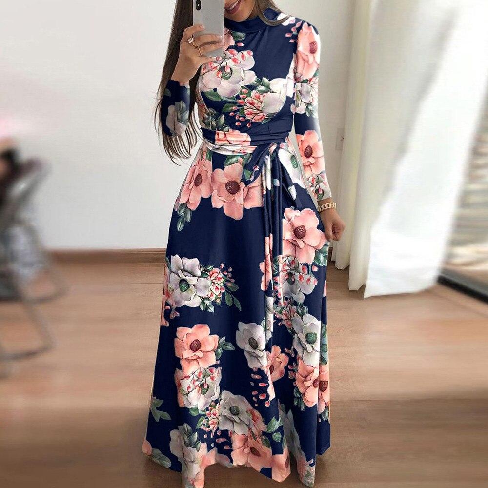 7031d05ca إمرأة بوهو ماكسي اللباس vestidos موهير الصيف فساتين نمط elbise السيدات عطلة  طويلة كم فستان بكم